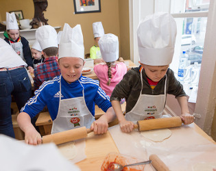 REPRO FREE  Taken on 22/4/2017 Dylan Foran and Ronan Dalton at the  'Perfect Pizza' class for kids at The Gourmet House, Dungarvan, County Waterford at the West Waterford Festival of Food 2017 Picture: Karen Dempsey
